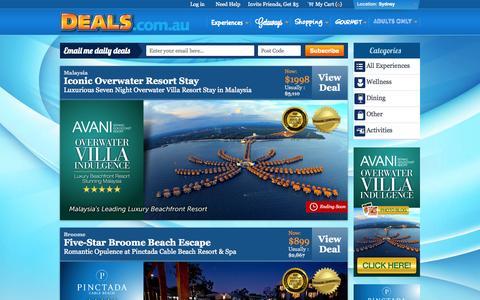 Screenshot of Home Page deals.com.au - Sydney Experiences Deals & Discounts | Unbeatable Sydney Daily Deals @ Deals.com.au - captured Sept. 19, 2014