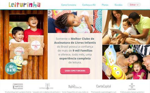 Screenshot of Home Page leiturinha.com.br - Leiturinha | Servio de assinatura de livros infantis | Clube do livro - captured Jan. 14, 2016