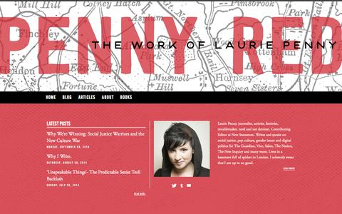 Screenshot of Home Page laurie-penny.com - Penny Red | The work of Laurie Penny - captured Sept. 23, 2014
