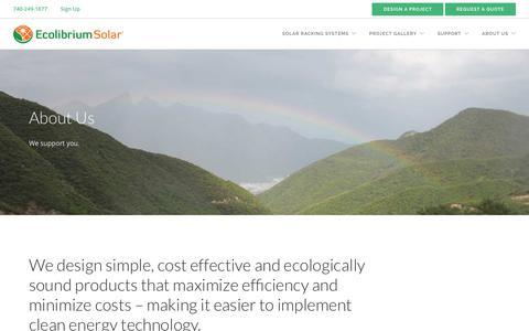 Screenshot of About Page ecolibriumsolar.com - About Us | Ecolibrium Solar - captured Sept. 12, 2019