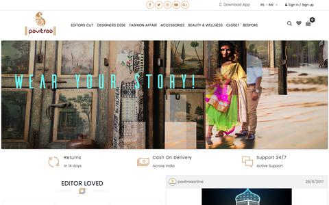 Screenshot of Home Page pavitraa.in - Women Fashion Online Shopping Site India   Pavitraa.in - captured July 16, 2017