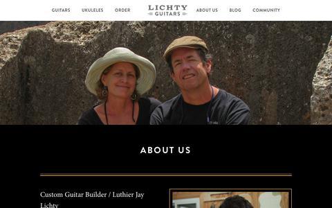 Screenshot of About Page lichtyguitars.com - Custom Guitar Builder - Luthier Jay Lichty | Lichty Guitars - captured Dec. 4, 2018