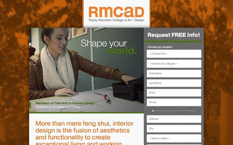 Screenshot of Landing Page rmcad.edu - RMCAD - The world is your canvas. - captured Oct. 27, 2014
