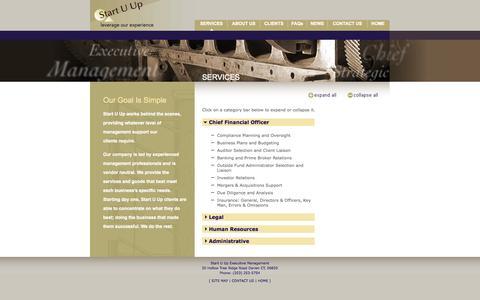 Screenshot of Services Page startuup.net - Start U Up LLC—Services - captured Oct. 7, 2014