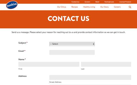 Screenshot of Contact Page sunkist.com - Sunkist | Contact Us - captured July 1, 2017