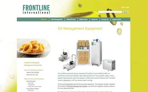 Screenshot of Products Page frontlineii.com - Oil Management Equipment - Frontline - captured Oct. 6, 2014