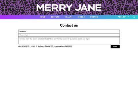 Screenshot of Contact Page merryjane.com - Contact Us   MERRY JANE - captured Nov. 15, 2019