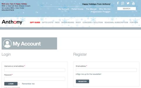 Screenshot of Signup Page anthony.com - My Account | Anthony - captured Dec. 12, 2018