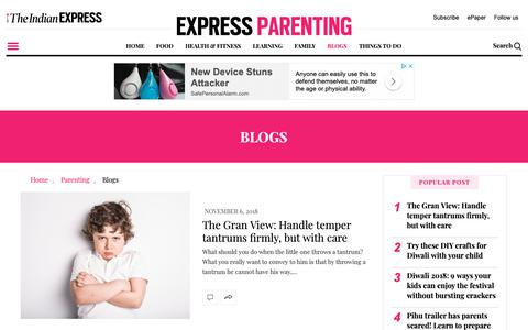 Screenshot of Blog indianexpress.com - Express Parenting Blogs: Opinion Articles, Latest Blog, Expert Opinion for good Parenting Skills |  The Indian Express - captured Nov. 6, 2018