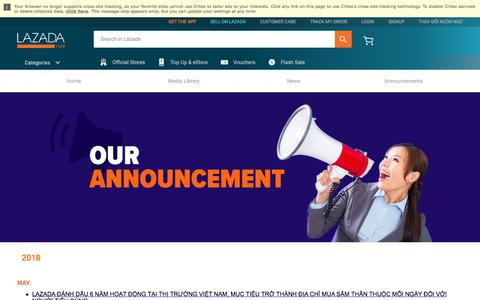 Screenshot of Press Page lazada.vn - Our Announcements_Press and Media_2018 - captured June 3, 2018