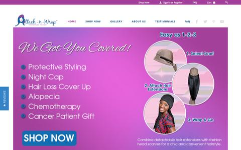 Screenshot of Home Page attachnwrap.com - Head Covers with Hair, Hats for Cancer & Chemotherapy Patients | Attach-N-Wrap - captured Jan. 21, 2015