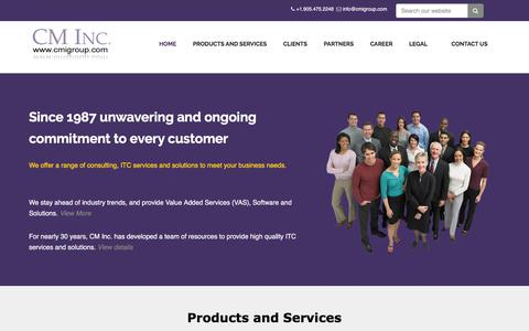 Screenshot of Home Page Contact Page cmigroup.com - CM Inc. Profile - captured Sept. 25, 2018