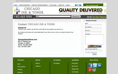Screenshot of Contact Page Support Page chicagoinkandtoner.com - Contact Us - Chicago Ink and Toner - captured Oct. 22, 2014