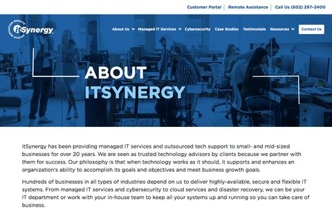 Screenshot of About Page itsynergy.com - Managed IT Services | Outsourced Tech Support - captured Jan. 26, 2020