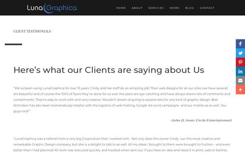 Screenshot of Testimonials Page lunagraphica.com - Client Testimonials | LunaGraphica, Inc. - captured Sept. 30, 2018