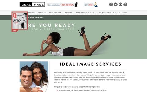 Screenshot of Services Page idealimage.com - Cosmetic Medical Services | Ideal Image - captured Aug. 3, 2015