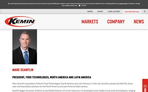 Screenshot of Team Page kemin.com - Marc Scantlin | Kemin Industries Executive Team - captured July 11, 2018