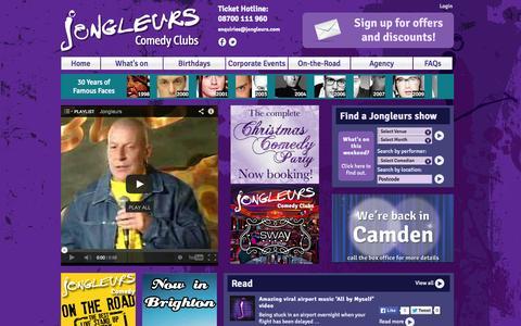 Screenshot of Home Page jongleurs.com - Welcome to Jongleurs | Jongleurs - captured Sept. 19, 2014