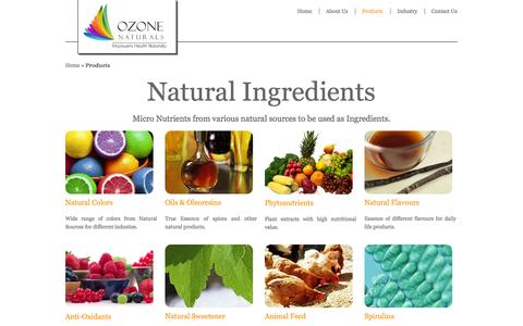 Screenshot of Products Page ozonenaturals.com - Natural Ingredients for Industry: Color, Flavour, Sweetener & Phytonutrients. - captured Oct. 26, 2014
