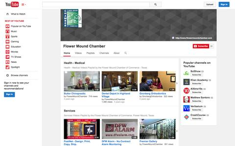 Screenshot of YouTube Page youtube.com - Flower Mound Chamber  - YouTube - captured Oct. 23, 2014