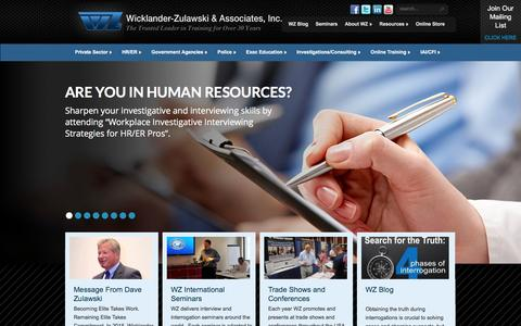 Screenshot of Home Page w-z.com - Interview and Interrogation Training for HR, LP & Police Criminal Interview Techniques - captured Feb. 16, 2016