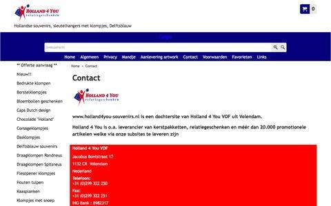Screenshot of Contact Page holland4you-souvenirs.nl - Contactgegevens  www.holland4you-souvenirs.nl uit Volendam - captured Nov. 11, 2016