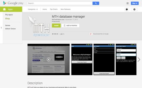 Screenshot of Android App Page google.com - MTH database manager - Android Apps on Google Play - captured Oct. 29, 2014