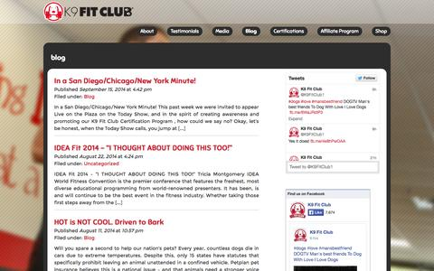 Screenshot of Blog k9fitclub.com - Blogs | K9FitClub – Health and Wellness for both Dogs and People. - captured Oct. 6, 2014