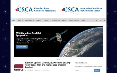 Screenshot of Home Page spacecommerce.ca - The Canadian Space Commerce Association - captured Sept. 23, 2015