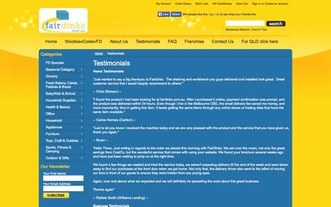 Screenshot of Testimonials Page fairdinks.com.au - Testimonials | Fairdinks - captured Oct. 6, 2014
