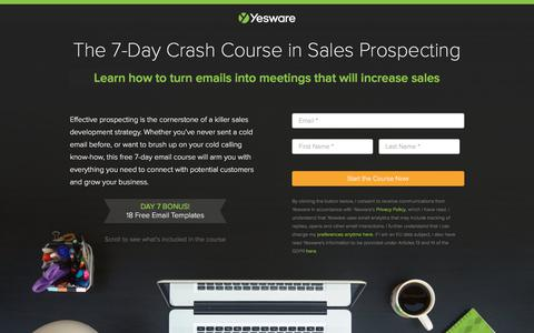 Screenshot of Landing Page yesware.com - The 7-Day Crash Course in Sales Prospecting   Yesware - captured July 12, 2019