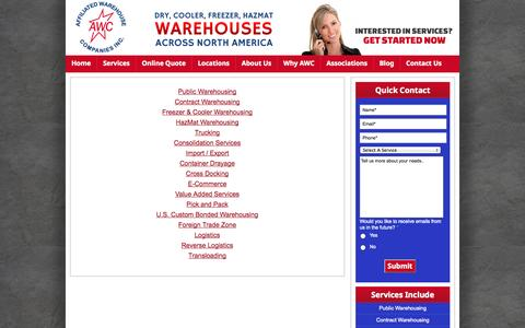 Screenshot of Services Page awco.com - Warehousing Services | Container Drayage | Logistics Solutions | AWCO - captured Oct. 4, 2014