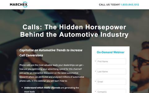 Screenshot of Landing Page marchex.com - Calls: The Hidden Horsepower Behind the Automotive Industry - captured Jan. 29, 2017