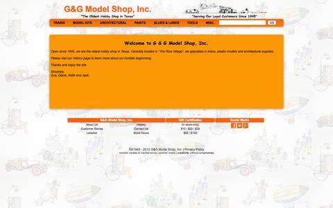 Screenshot of About Page gandgmodelshop.com - G&G Model Shop, Inc. - captured Oct. 1, 2014