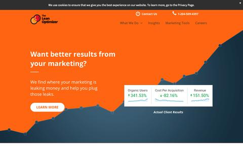 Screenshot of Home Page theleanoptimizer.com - Better Marketing Results (With CRO & SEO) - captured Oct. 13, 2018