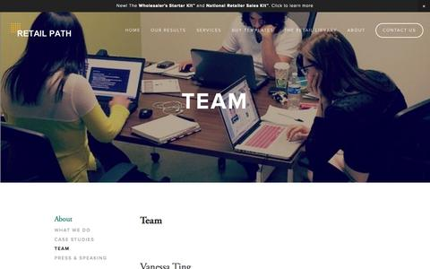 Screenshot of Team Page retail-path.com - TEAM — Retail Path ~ Smart Growth Strategies For Emerging Brands ~ - captured Aug. 15, 2015