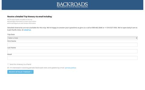 Screenshot of Landing Page backroads.com - MyBackroads - Detailed Itinerary - captured June 20, 2017