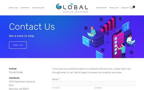 Screenshot of Contact Page gotprepaid.com - Global Service Solutions | Contact Us — Global - captured Nov. 10, 2018
