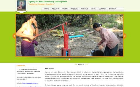Screenshot of About Page abcmm.org - Agency for Basic Community Development - captured Feb. 5, 2016
