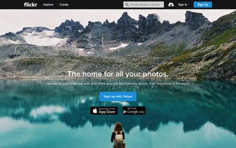 Screenshot of Home Page flickr.com - Flickr, a Yahoo company | Flickr - Photo Sharing! - captured Dec. 18, 2015
