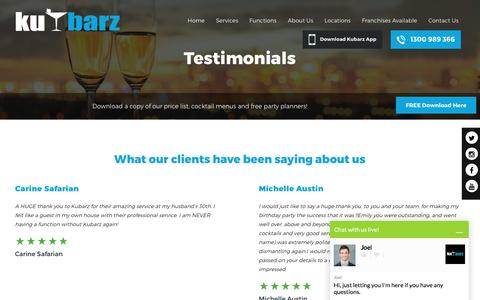 Screenshot of Testimonials Page kubarz.com.au - Testimonials - captured Nov. 27, 2016