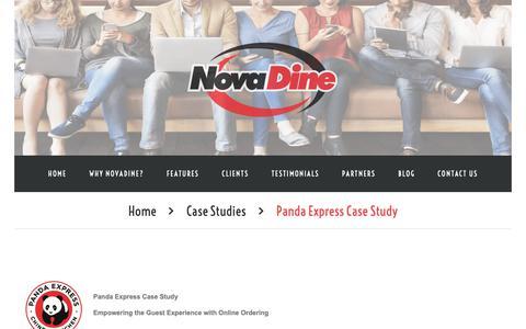 Screenshot of Case Studies Page novadine.com - Panda Express Case Study - captured Oct. 19, 2018
