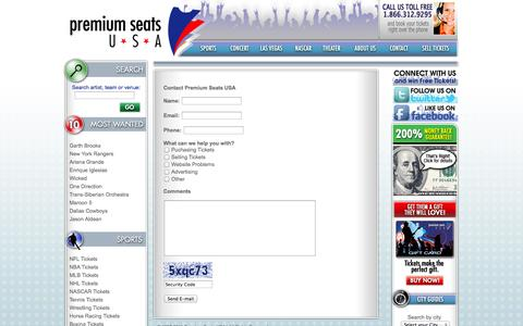 Screenshot of Support Page premiumseatsusa.com - Contact Us - captured Sept. 24, 2014