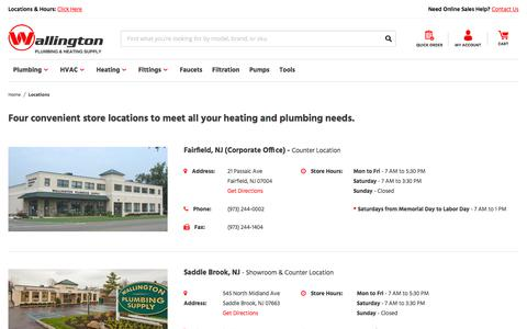 Screenshot of Locations Page wallingtonplumbingsupply.com - Locations  - Wallington Plumbing and Heating Supply Inc - captured Sept. 21, 2018