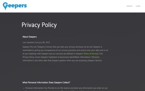 Screenshot of Privacy Page geepers.com - Privacy policy - Geepers - captured Sept. 29, 2014