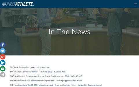 Screenshot of Press Page proathleteinc.com - In The News | Pro Athlete, Inc. - captured July 22, 2018