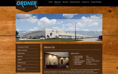 Screenshot of About Page ordner.com - Ordner Construction Company - About Us - captured Oct. 26, 2014