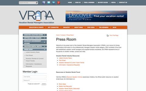 Screenshot of Press Page vrma.com - VRMA | Press room & media contact information - captured Oct. 27, 2014