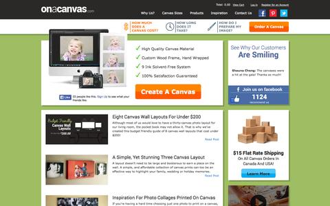 Screenshot of Home Page Site Map Page onacanvas.com - It's easy to print your images on a canvas in Canada - captured Oct. 6, 2014