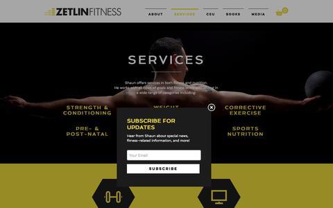 Screenshot of Services Page zetlinfitness.com - Zetlin Fitness | SERVICES - captured Nov. 12, 2017